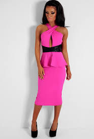 pink boutique dresses pink and black leatherette peplum midi dress pink boutique