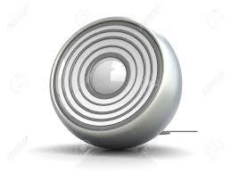 a modern metallic speaker 3d rendered illustration isolated