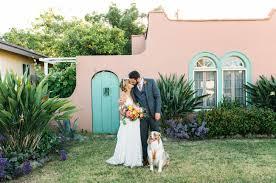 stylish bohemian backyard wedding candice joe green wedding