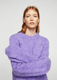 purple sweater openwork knit sweater mango denmark
