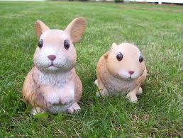rabbit garden rabbit babies garden statues outdoor animal yard decor