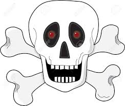 a skull and crossbones with fiery red eyes royalty free cliparts