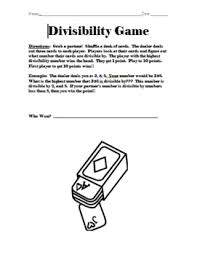 students will practice their knowledge of divisibility rules by