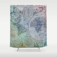 World Map Fabric Shower Curtain Colorful Antique World Map Fabric Shower Curtain Antique Map