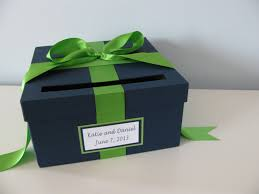 wedding card box bridal shower card box navy and kelly green