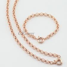 rose gold bracelet set images 1 set 6mm rolo chains men women set jewelry rose gold filled rolo jpg