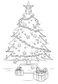 christmas tree gift boxes coloring free printable