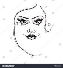 fashion face black lines woman stock vector 384923272