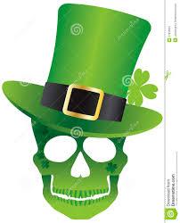 st patricks day skull with leprechaun hat royalty free stock