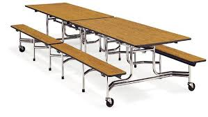 Virco Mobile Bench Cafeteria Table 12 L X 29 H 17 Bench Height
