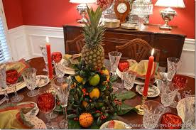 colonial williamsburg table setting with a lemon and
