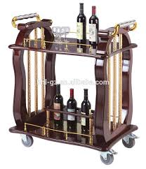 double deck wooden wine trolley hotel drinks serving trolley