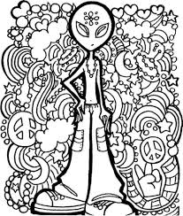 alien trippy printable coloring page free coloring pages