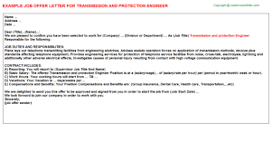 transmission and protection engineer offer letter