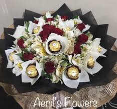 flowers and chocolate black chocolate bouquet