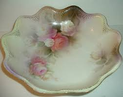 rs prussia bowl roses r s prussia bowl set surreal dogwood in a luster green and