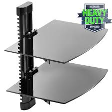 Wall Mounted Dvd Shelves by Floating Wall Mount 2 Shelf Av Dvd Component Console Glass Stand