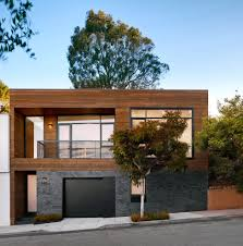 grey siding exterior contemporary with metal deck railing