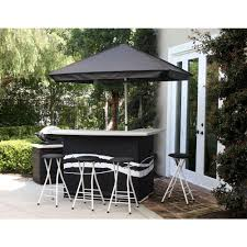 Patio Furniture Set With Umbrella - best of times classic black all weather patio bar set with 6 ft