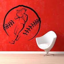 online get cheap baseball decor aliexpress com alibaba group baseball sticker pitcher name sports decal posters vinyl wall decals pegatina quadro parede decor mural baseball