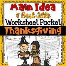 main idea and best title worksheets thanksgiving test prep by