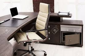 Laptop Desk Chair by Laptop On A Desk In A Modern Office Stock Photo Picture And