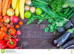 top view of healthy eating background with colorful fresh organic