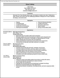 Best One Page Resume Template Filmmaker Resume Template Entry Level Media Sales Resume How To