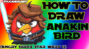 how to draw anakin skywalker bird from angry birds star wars 2
