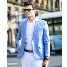 light blue jacket mens the spring and autumn season the men s suit jacket light blue formal