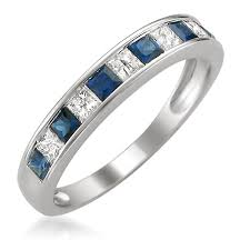sapphire and wedding band 14k white gold princess cut and blue sapphire wedding band