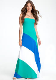 bebe colorblock strapless maxi dress in green lyst