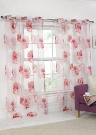 rose voile panel eyelet pink curtains com