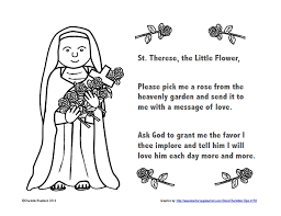 Prayer To St Therese The Little Flower - classroom freebies free st therese color and pray printable
