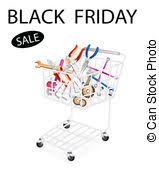 black friday auto parts drawing of auto parts with shopping trolley in garage automotive