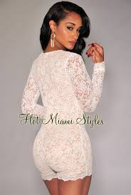 all white jumpsuit white lace illusion sleeves romper