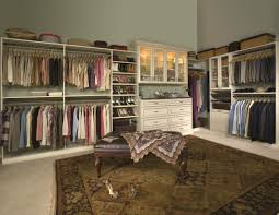 awesome big closet organizers with classic leather bench design