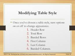 Change Table Style Word Working With Tables In Word 2016