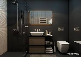 Small Studio Apartments With Beautiful Design - Black bathroom designs