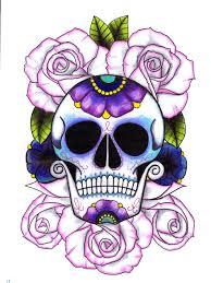 sugar skull finger pencil and in color sugar skull