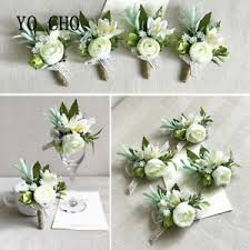 boutonniere flower 2pc white wrist corsage groom boutonniere prom wedding