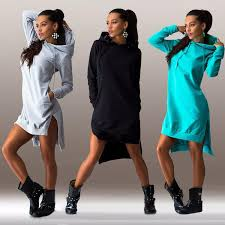 womens girls winter dress long sleeve tops ladies hoodie jumper
