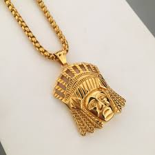 titanium gold necklace images Men 39 s jewelry titanium steel new dope indian chief pendant jpg