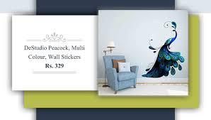 12 amazing wall decals under rs 500 renomania destudio peacock multi color wall stickers