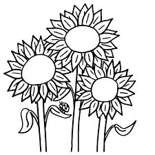 leuk voor kids kleurplaat zonnebloemen met een lieveheersbeestje