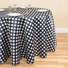 120 in round polka dot satin tablecloth black white