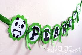 panda bear name banner birthday party baby shower green