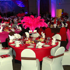 Centerpiece With Feathers by Tall Martini Glasses With Pink Feathers Were Just One Of Four