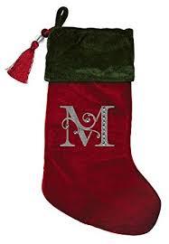 monogram christmas christmas green velvet with tassel