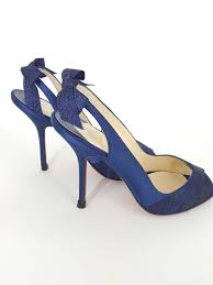 christian louboutin navy blue sparkle sling back heels with bow